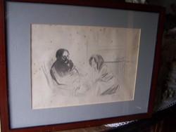 Jean-Louis Forain (1852-1931) - Társalgók-László Károly (Basel) gyűjteményéből  ceruza, tus, papír,
