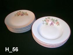 5-5 db régi, de szép állapotú porcelán nagy lapos és mély leveses tányér virág mintával