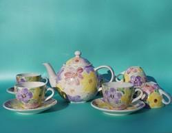 Kerámia teáskészlet kávéskészlet 6 személyre Pataki (?) kerámia kézzel festett virág mintás