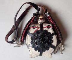 Régi antik világos színű csikóbőr kulacs csikó bőr