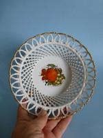 Gyönyörű fonott,aranyozott szegélyű porcelán tálka,kínáló