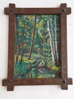Festmény fa keretben eladó !Retro érdekes fa keret