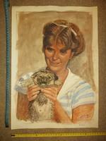 """Kovács Ernő: """"Mesi kutyával"""", festmény, méret, cím jelezve, katalogizálva..."""