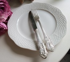 Antik ezüstözött mesemintás gyerek evőeszköz kés villa