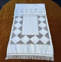 Vászon konyha ruha , kéztörlő , hímzett  kézi szőttes 109 x 44 cm + rojt szövegges hardanger