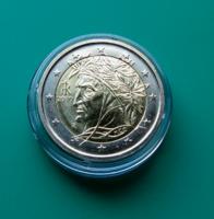 OLASZORSZÁG - 2 EURO 2010 –DANTE- verdefényes forgalmi érme – certivel