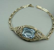 Art Deco ezüst karkötő spinell- markazittal