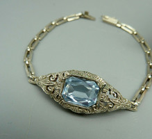 Art deco silver bracelet with spinel marcasite
