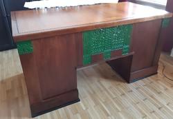 Szecessziós íróasztal, századforduló, népi motívumok, Toroczkai Wigand Ede stílusában, antik