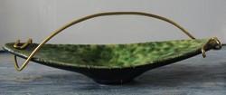 Retro, zöld kerámia asztalközép , sorszámozott