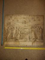 Szövetre (selyem?) nyomott metszet, 1791-es dátummal, régi nyelven, régi állapotban...