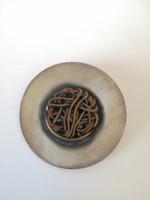 Rézdrót mintás kerek kézműves ezüst medál