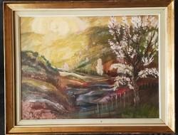 Szamosvári József (1931-) Tavasz eredeti zsűrizett képcsarnokos festmény