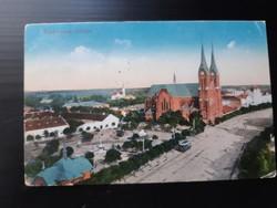 Békéscsaba látképe, templom képeslap, Vasuti levelezőlapárusítás