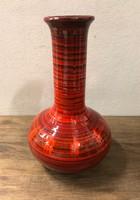 Dekor váza, narancs, piros alapon fekete csíkozással