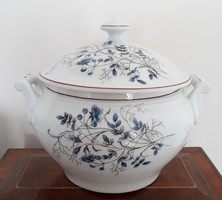 Régi porcelán virágos leveses tál népi füles fedeles komatál