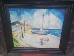 Gyönyörű szignált halászok festmény!
