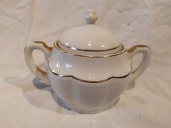 Zsolnay aranyozott fehér porcelán cukortartó