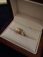 Eladó régi kézműves tenyésztett gyöngyös ezüst gyűrű!