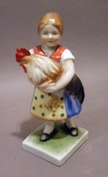 Herendi kislány kakassal / Herend porcelain figure (girl with rooster)