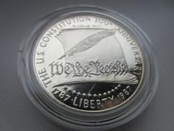 1987 USA dollar Alkotmány Liberty 27g 0.900ag emlékérme RITKA