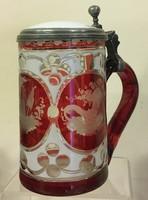 Fedeles üveg korsó,19.sz.fúvott,kétrétegű,hántolt ,rubinpácolt,csiszolt