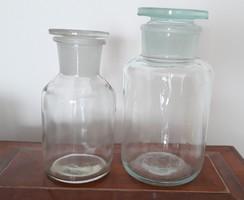 Régi patikaüveg gyógyszertári üveg dugós palack laborüveg 2 db