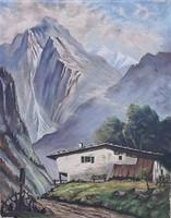 Ismeretlen festő – Alpok című hangulatos festménye – 27.