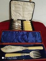 Ezüst gyűrűs,ezüstözött fejű halas evőeszköz készlet (hibátlan)