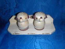 Kutya formájú fa sószóró pár falra szerelhető kis polccal (12/d)