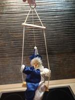 Hintáző porcelán fejű bohóc   52 cm