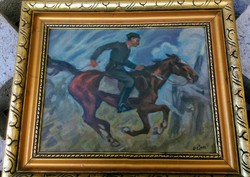 Equestrian military painting