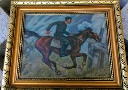 Lovas katonás festmény