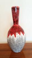 Retro mázas kerámia régi nagy váza 34 cm mid century