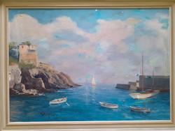 Öböl kikötővel, olajfestmény kerettel 58x80 cm - vízparti táj, természet, kikötő, hajók