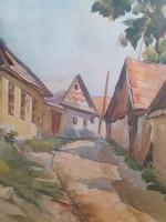 PIRCHALA IMRE: Szenttamási részlet (akvarell 28x39 cm) utcakép - Csók István és Vaszary tanítványa!