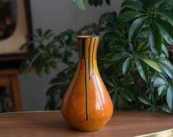Retro kerámia váza - narancssárga alapon zöld folyatott mázzal (Mihály műhely)