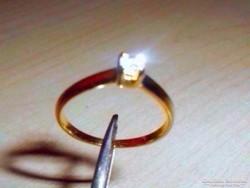 Art Deco Modernista Ékköves töltött Arany Gold Filled Gyűrű