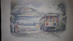 "San Francisco-i villamos,pasztell nyomat... ""the cable car"""