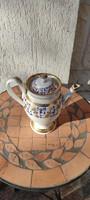 Antik fedeles kancsó kanna teàs-kàvés kiöntő 1800 As évek.Aranyozott kézzel festett!Gyüjteménybe!