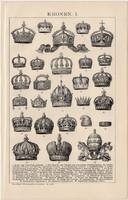 Koronák I. és II., egyszín nyomat 1893, német nyelvű, Brockhaus, korona, király, uralkodó, régi