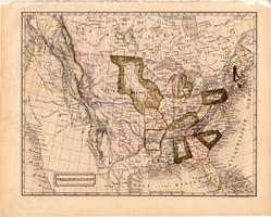 Egyesült Államok térkép 1840 (2), német, atlasz, eredeti, Pesth, 23 x 29 cm, Amerika, észak, régi