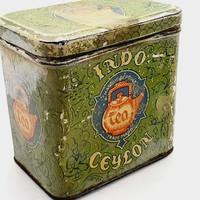 Ceylon Régi antik tea teás lemezdoboz lemez doboz 30-as évek 8 cm magas