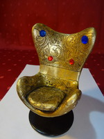 Mini fotel, aranyozott festéssel, fém talpon, magassága 14 cm.