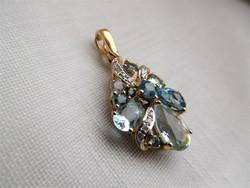Akvamarin rengeteg gyémánt és topáz 585/14 kr.arany medál:ÚJ