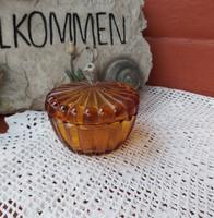 Gyönyörű színes narancssárga cukortartó, bonbonier Gyűjtői szépség  nosztalgia darab.