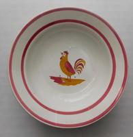 Antik wilhelmsburgi  keménycserép kakasos tányér