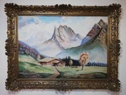 Szignózott alpesi tájkép