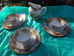 Sarreguemines antik  francia fajansz teás szett kiöntővel