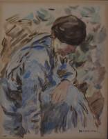PERLMUTTER IZSÁK (Budapest 1866 – 1932 Budapest) Töprengő